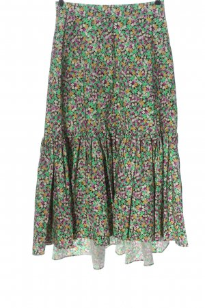 H&M Maxi Skirt green-pink allover print casual look