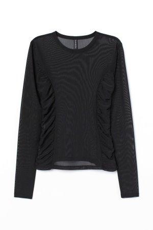 H&M Mesh Shirt Top transparent Raffung XS – NEU