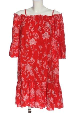 H&M Midikleid rot-weiß Blumenmuster Casual-Look