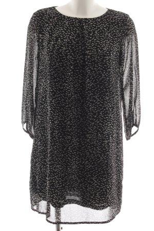 H&M Midikleid schwarz-weiß Allover-Druck Business-Look