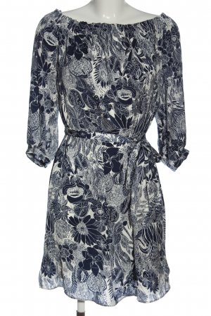 H&M Midikleid blau-weiß Allover-Druck Elegant