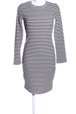 H&M Midikleid schwarz-weiß Streifenmuster Casual-Look