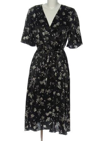 H&M Abito midi nero-bianco stampa integrale elegante