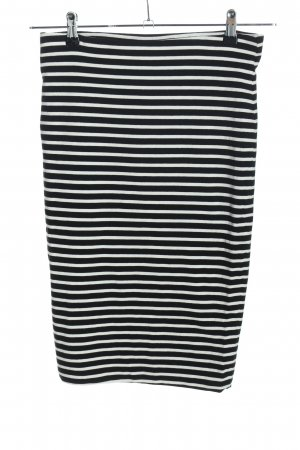 H&M Stretch Skirt black-white striped pattern casual look