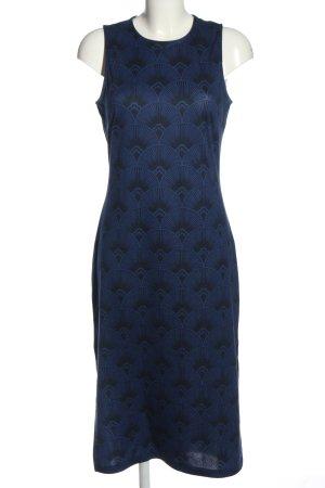 H&M Midikleid blau-schwarz grafisches Muster Casual-Look