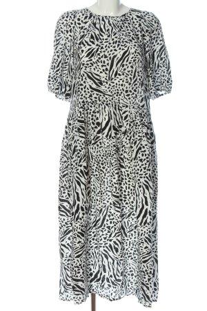H&M Midikleid schwarz-weiß Allover-Druck Casual-Look
