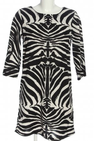 H&M Langarmkleid schwarz-wollweiß abstraktes Muster Casual-Look