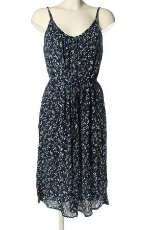 H&M Midikleid blau-weiß Allover-Druck Casual-Look