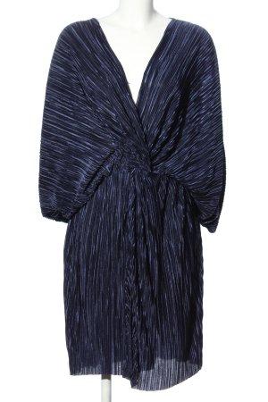 H&M Midikleid blau abstraktes Muster Business-Look