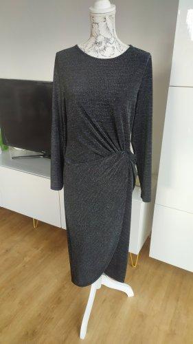H&M Midikleid grau schwarz Glitzer  Gr. L Stretch