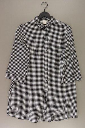 H&M Midikleid Größe 38 kariert 3/4 Ärmel schwarz aus Baumwolle