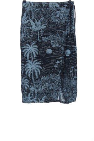 H&M Midirock schwarz-blau Allover-Druck Casual-Look