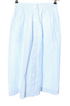 H&M Midirock blau-weiß Streifenmuster Elegant