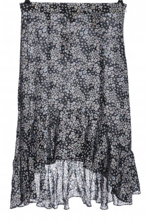 H&M Midirock schwarz-blau Allover-Druck Elegant