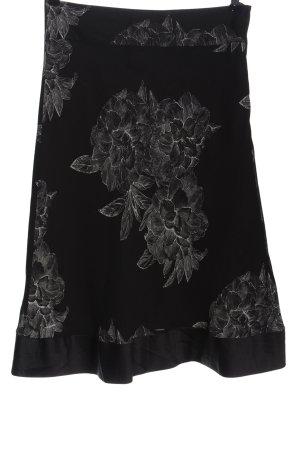 H&M Midirock schwarz-weiß Allover-Druck Casual-Look