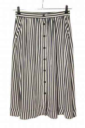H&M Midirock schwarz-creme Streifenmuster Casual-Look
