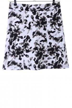 H&M Flared Skirt white-black abstract pattern business style