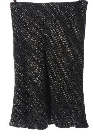 H&M Midirock schwarz-weiß Webmuster Casual-Look