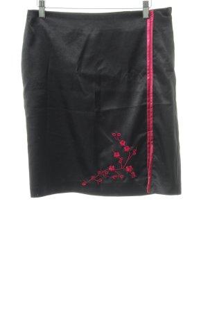 H&M Midirock schwarz-rot Elegant