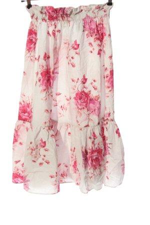 H&M Midirock weiß-pink Allover-Druck Casual-Look