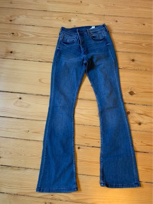 H&M Jeansowe spodnie dzwony chabrowy
