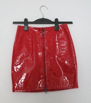 H&M Faux Leather Skirt dark red polyurethane