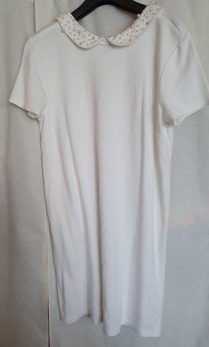 H&M Mini Sommer Kleid weiß kurzarm Perlen Bubikragen Gr M