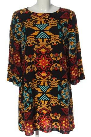 H&M Minikleid schwarz-hellorange abstraktes Muster Business-Look