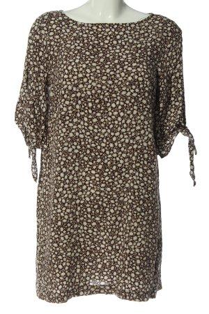 H&M Minikleid braun-creme Allover-Druck Casual-Look