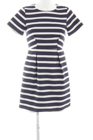 H&M Minikleid schwarz-wollweiß Streifenmuster Elegant