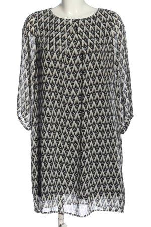 H&M Minikleid schwarz-wollweiß Allover-Druck Casual-Look