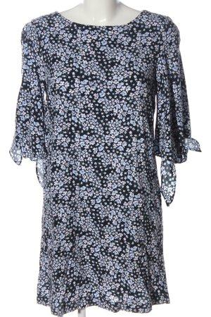 H&M Blusenkleid schwarz-blau Blumenmuster Casual-Look