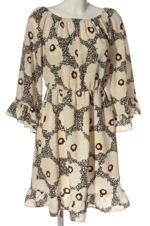 H&M Minikleid creme-schwarz Allover-Druck Casual-Look