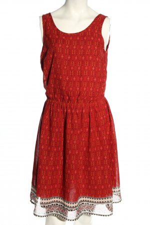 H&M Minikleid rot-wollweiß Allover-Druck Casual-Look