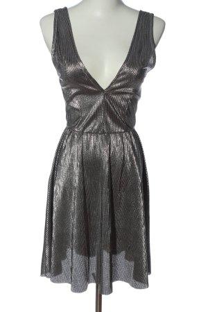 H&M Minikleid silberfarben-schwarz Streifenmuster Glanz-Optik