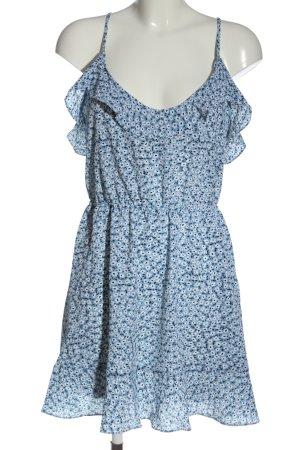 H&M Minikleid blau-weiß Allover-Druck Elegant
