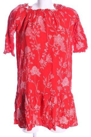 H&M Minikleid rot-weiß Allover-Druck Casual-Look