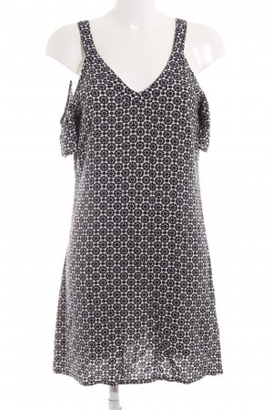 H&M Minikleid dunkelblau-wollweiß grafisches Muster Casual-Look