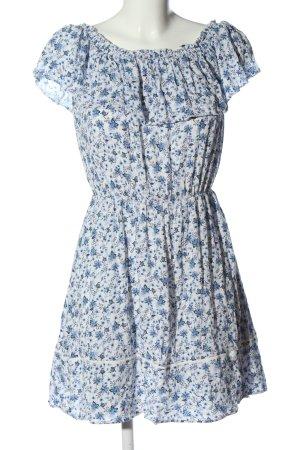 H&M Minikleid weiß-blau Allover-Druck Casual-Look