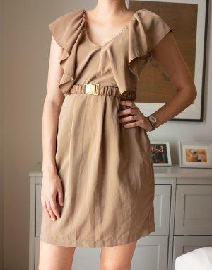 H&M Minikleid mit Gürtel Volants Gr. 38 Nude Beige wie neu!