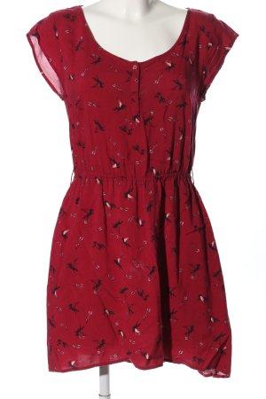H&M Minikleid rot-schwarz Allover-Druck Casual-Look
