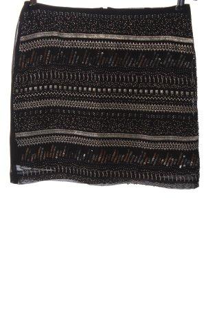 H&M Minirock schwarz-silberfarben Schriftzug gestickt Elegant