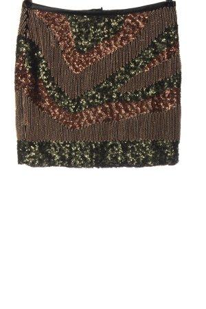 H&M Minirock grün-bronzefarben grafisches Muster Elegant
