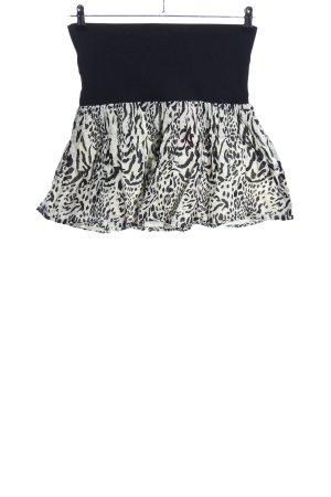 H&M Minirock weiß-schwarz Allover-Druck Casual-Look