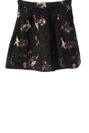H&M Minirock schwarz-creme Motivdruck Casual-Look