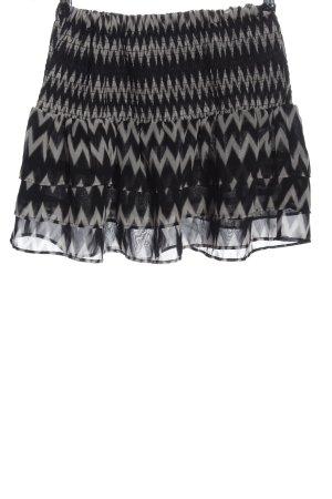 H&M Minirock schwarz-hellgrau grafisches Muster Casual-Look