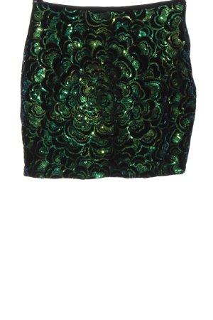 H&M Minirock grün-schwarz Allover-Druck Elegant
