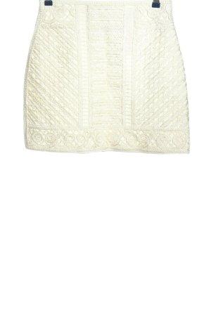 H&M Mini-jupe blanc cassé Motif de tissage élégant