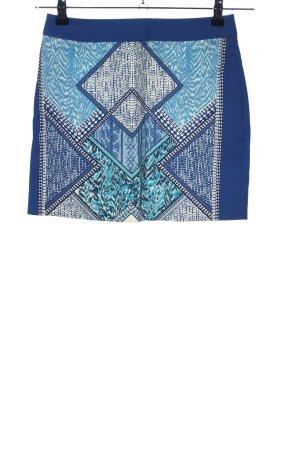 H&M Minirock blau-wollweiß abstraktes Muster Casual-Look