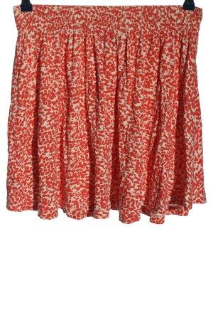 H&M Minirock weiß-rot Allover-Druck Casual-Look